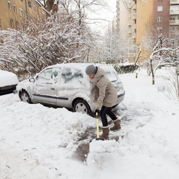 Woman in need of snow blower